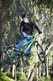 Extreme bikers. Extreme riders flying with they bikes Stock Images