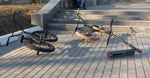 Extreme bikes , lie on the path royalty free stock image
