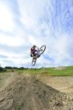 Extreme biking jump Stock Images
