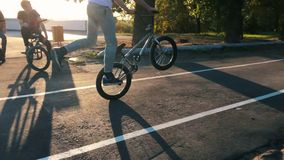 Extreme Bmx bikers jumping on bicycles in a sunny park in the summer. The young biker bmx makes ollie-tricks and rides a. Bicycle standing on one wheel stock video