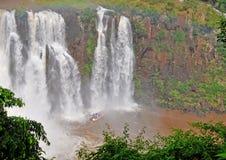 Extreme boat under the Iguacu falls Stock Photos