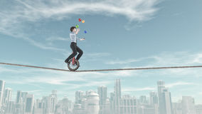 Extreme business man. Riding unicycle on a rope and juggling with some balls in the same time over the city. This is a 3d render illustration Stock Photography