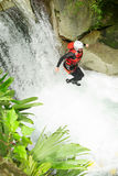 Extreme Canyoning Waterfall Jump Royalty Free Stock Photography