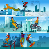 Extreme City Sport Flat Banners Set Stock Photo