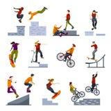 Extreme City Sports Flat Icons Set Royalty Free Stock Photography