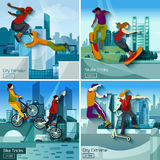 Extreme City Sports 2x2 Design Concept Set Royalty Free Stock Photos