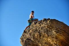 Extreme Climber Climbs On A Rock Stock Image