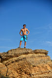 Extreme Climber On The Top Of Mountain. 