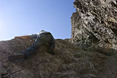 Extreme climbing in the Alps Royalty Free Stock Images