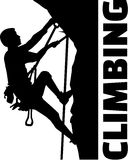 Extreme climbing man with word. Extreme climbing man silhouette with word vector illustration