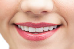 Extreme close up on beautiful white smile Royalty Free Stock Photos