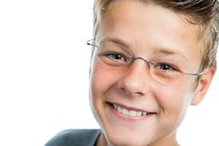 Extreme close up of boy with eye wear. Stock Photo