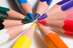 Extreme close-up of colorful pencil Royalty Free Stock Images