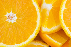 Extreme close up of  cut oranges Royalty Free Stock Photography