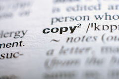 Extreme close up of english dictionary page with word co Stock Image