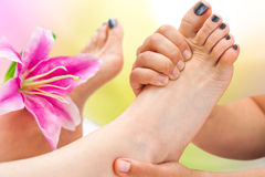 Extreme Close up foot massage Royalty Free Stock Photos