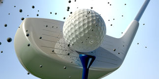 Golf Ball And Club Impact Stock Images