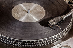 Extreme Close up  Grungy Record Playing Turn Table Royalty Free Stock Image