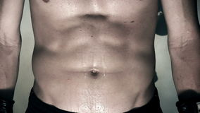 Extreme Close Up Male Stomach During Workout stock video footage