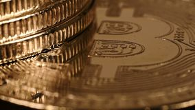 Silver And Golden Virtual Bitcoins stock footage
