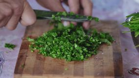 Extreme Close-up, Men Hands Cut Parsley for Salad on a Wooden Board. Extreme Close-up, Men Hands Cut a Parsley with a Knife for Salad on a Wooden Board stock footage