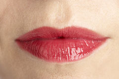 Extreme Close-Up Of Middle Aged Woman's Lips Royalty Free Stock Photography