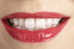 Extreme Close-Up Of Middle Aged Woman's Lips Royalty Free Stock Photos