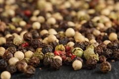 Extreme close up of a mix of black, red, green and white peppercorns on a black, rustic stone kitchen board. Shallow depth of fiel Royalty Free Stock Image