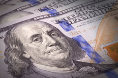 Extreme close-up of one hundred bill. Franklin portrait Stock Photos