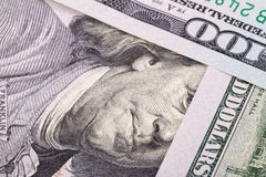 Extreme close-up of one hundred bill. Franklin portrait Royalty Free Stock Photography
