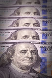 Extreme close-up of one hundred bill. Franklin portrait Stock Image