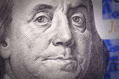 Extreme close-up of one hundred bill. Franklin portrait Stock Photo