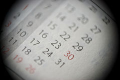 Extreme close-up of personal calendar. Extreme close-up of page of personal organizer stock images