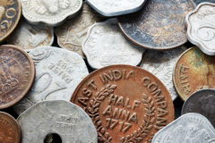 Extreme close up picture of Indian rupee. Extreme close up picture of old Indian rupee coins, shallow depth of field Royalty Free Stock Photo