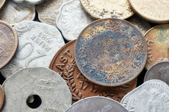 Extreme close up picture of Indian rupee. Extreme close up picture of old Indian rupee coins, shallow depth of field Royalty Free Stock Photography