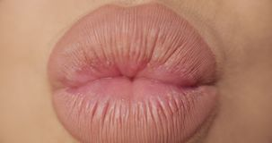 Extreme close-up plump female sexy lips wearing nude lipstick making kiss and smiling