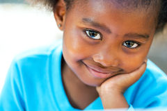 Extreme close up portrait of african kid. Stock Images