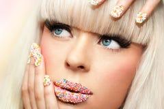 Macro beauty make up portrait. Stock Images