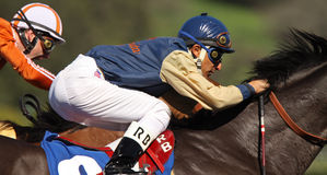 Extreme Close Up of Racing Jockey Stock Photo