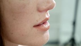 Extreme close up of sexy lips stock video footage