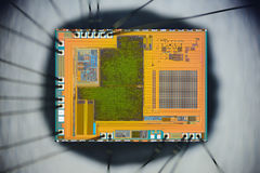 Extreme close up of silicon micro chip Royalty Free Stock Images