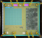 Extreme close up of silicon micro chip Royalty Free Stock Photo