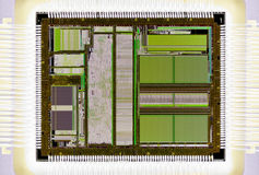 Extreme close up of silicon microprocessor chip Royalty Free Stock Photography
