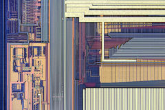 Extreme close up of silicon microprocessor chip Royalty Free Stock Image
