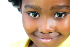 Extreme close up of sweet african girl. stock photo