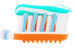 Extreme close up tooth brush with toothpaste Royalty Free Stock Image