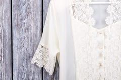 Extreme close up white lace clothing. Stock Photography