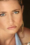 Extreme closeup of Blonde model. Close up portrait of blond model's face Stock Photography