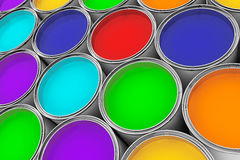 Extreme closeup colorful paint cans Royalty Free Stock Photos