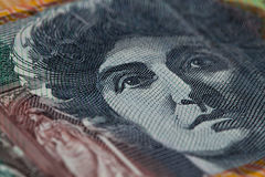 Extreme closeup of Dame Nellie Melba printed on Australian one h. Undred dollar bill Royalty Free Stock Image
